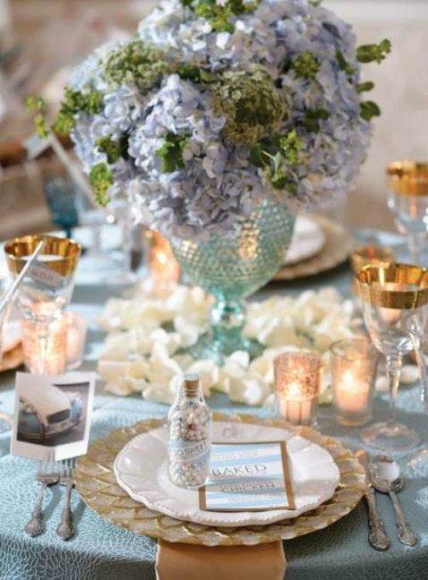 Декор свадьбы в небесно-голубом цвете