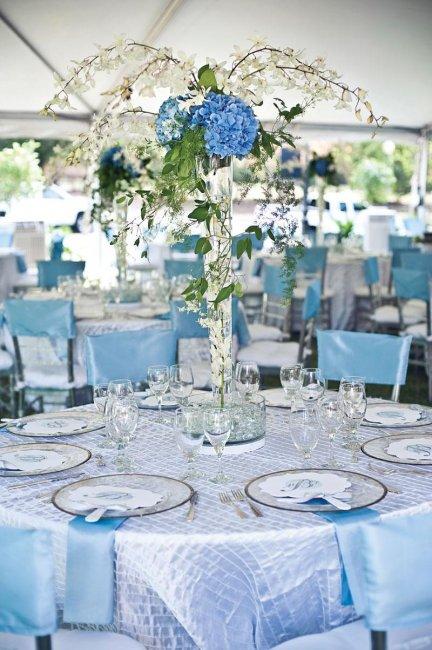 Оформление столов на свадьбе в небесно-голубом цвете