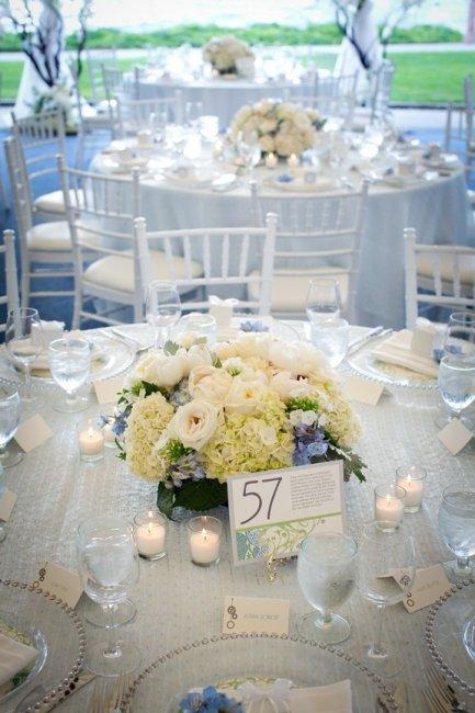 Декор свадебного банкета в небесно-голубом цвете