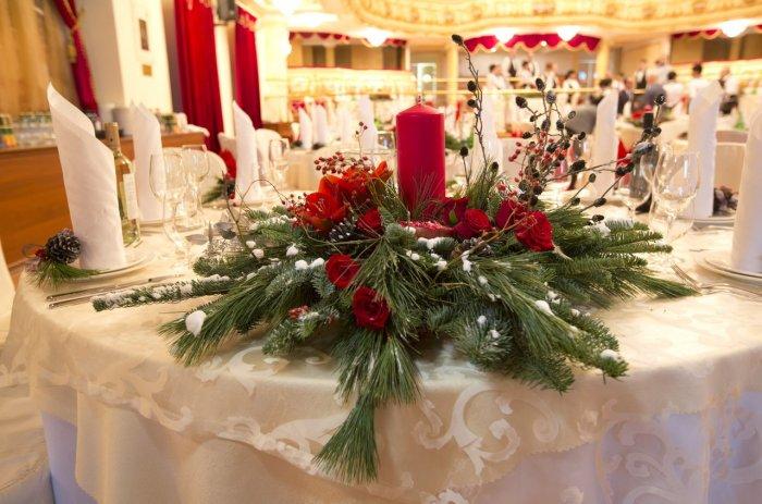 Оформление зимнего праздничного банкета