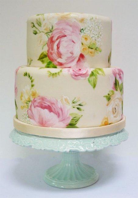 Торт на ситцевую свадьбу с постельным принтом