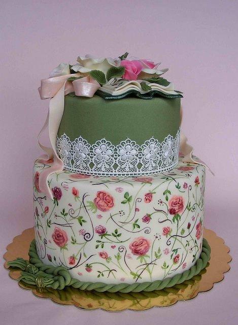 Торт на ситцевую свадьбу с постельным принтом 2