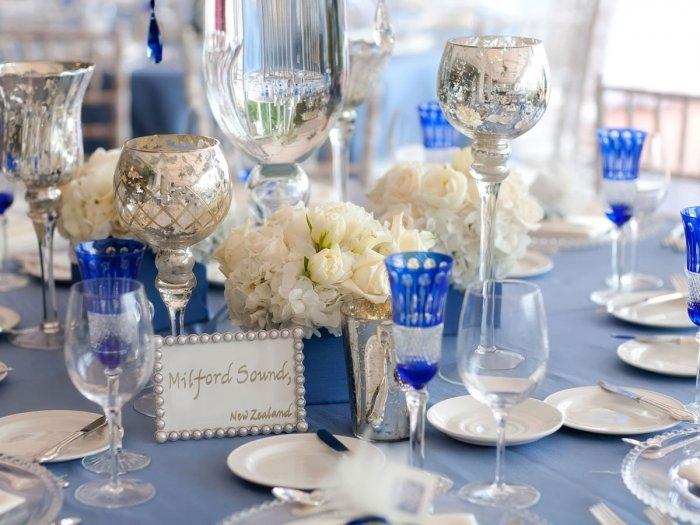 Бело-синее оформление свадьбы