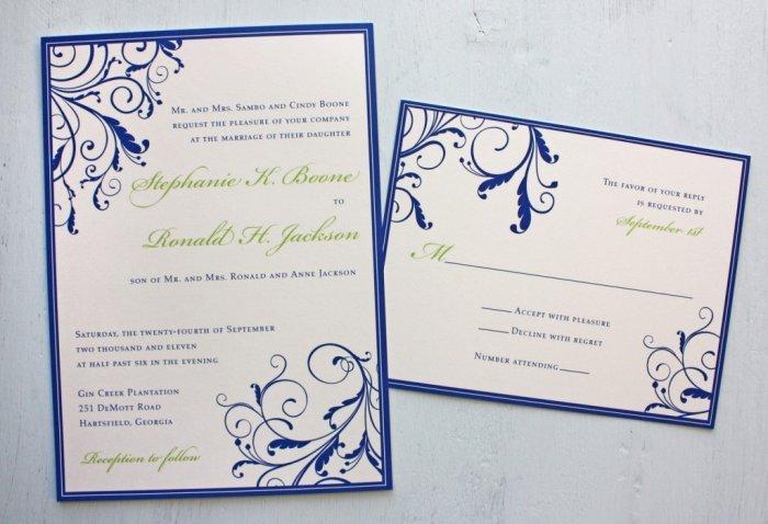 Бело-синие свадебные приглашения