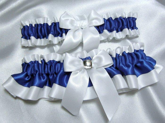 Бело-синяя подвязка невесты
