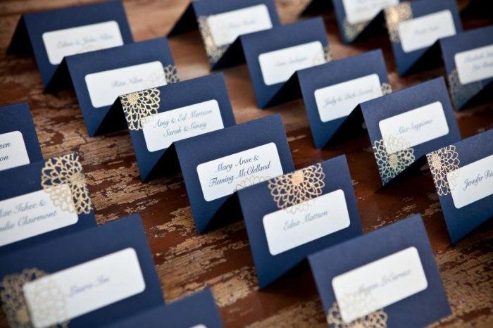 Бело-синие банкетные карточки