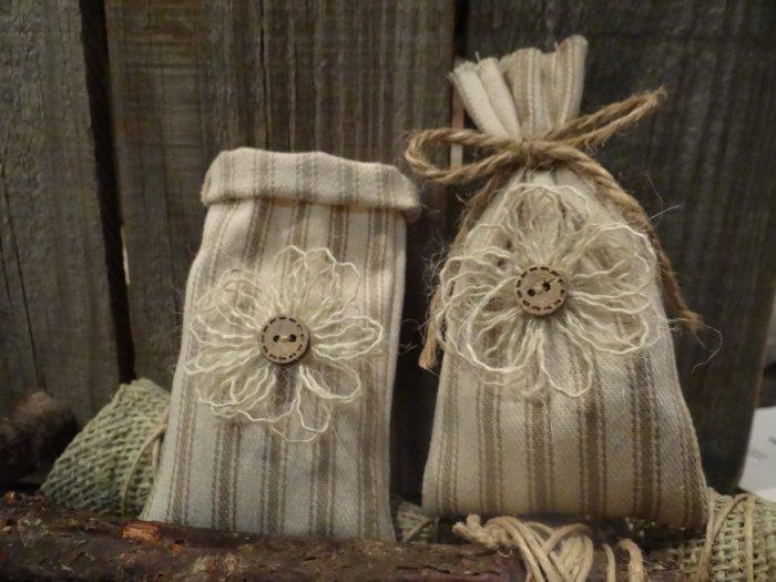 Декоративные мешочки из мешковины
