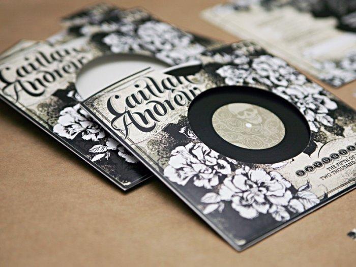 Пригласительный на рок-свадьбу в виде виниловой пластинки