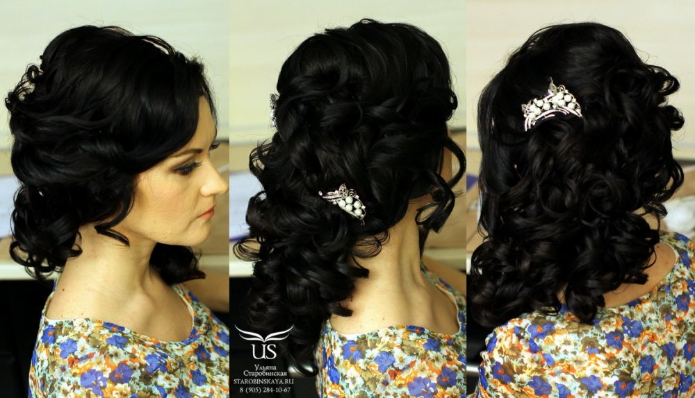 Прически на среднее волосы с челкой кудри