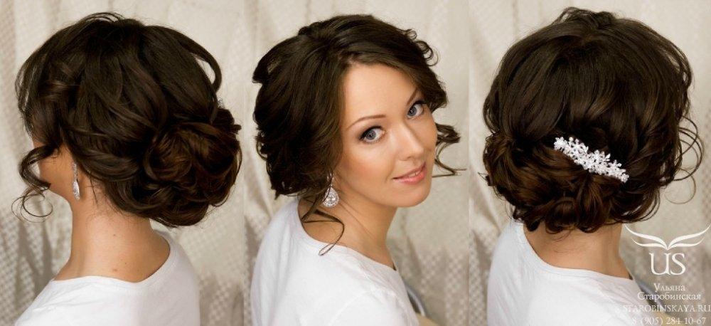 Прически на темные волосы на свадьбу