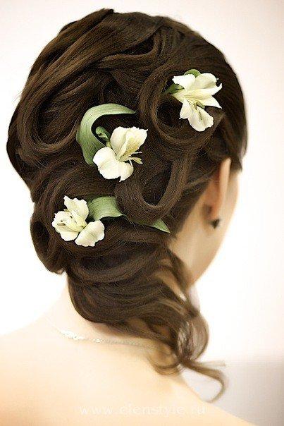 свадебные прически из длинных волос с пле