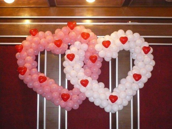 Сердце из шаров не на каркасе