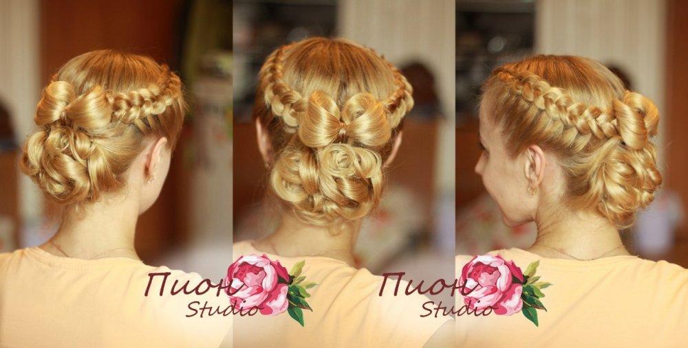 Праздничные прически из кос на средние волосы