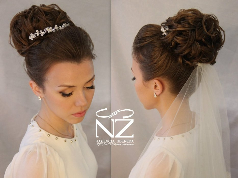 Свадебные прически на длинные волосы собранные с фатой