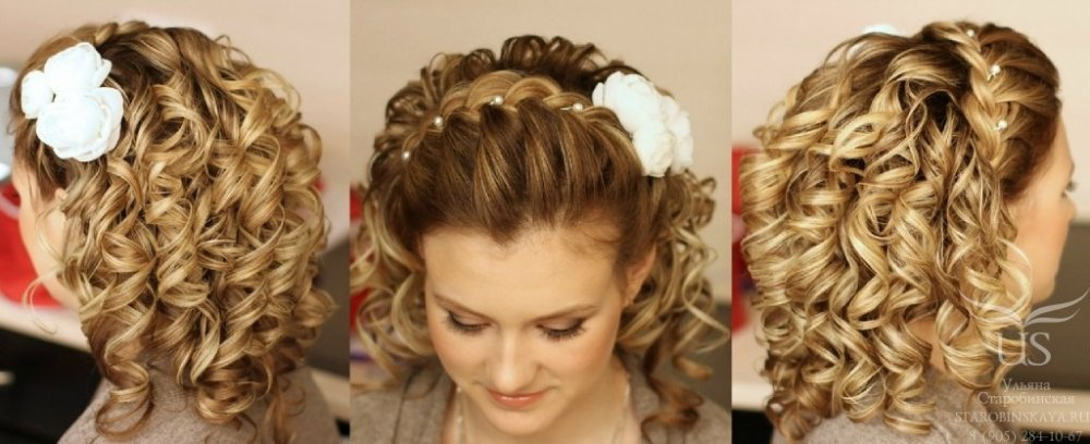Прически на средние волосы фото на торжество с челкой распущенные волосы