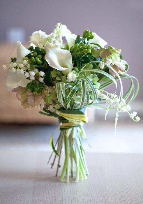 Тюльпанов, свадебный букет каллы с ландышем
