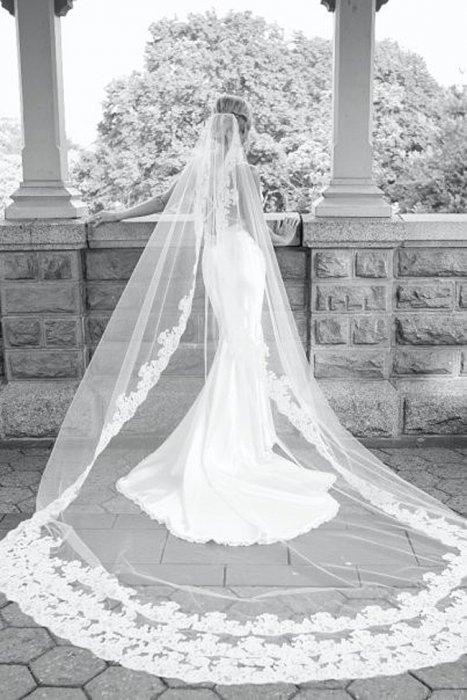 фата длинная свадебная фото