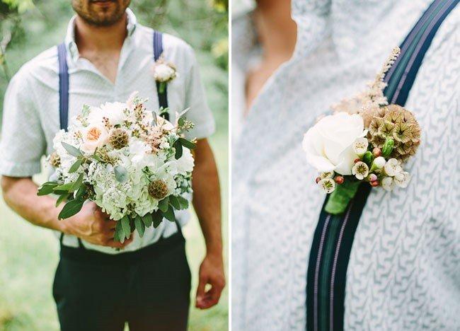 Букет и бутоньерка жениха для лесной свадьбы