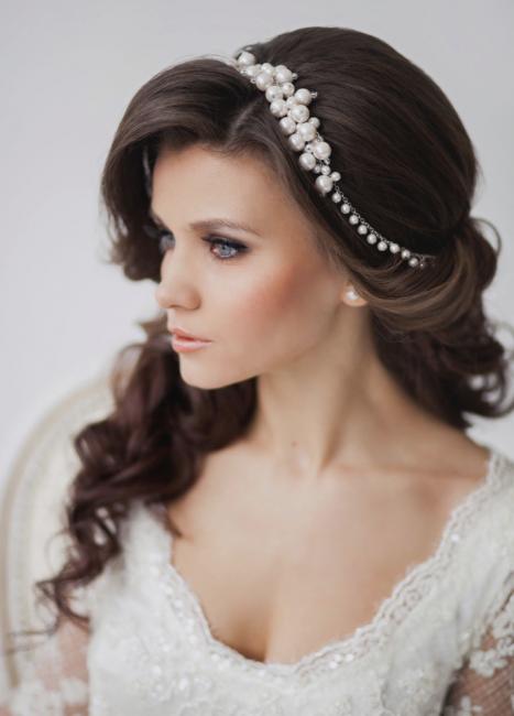Прически свадебные для полного лица