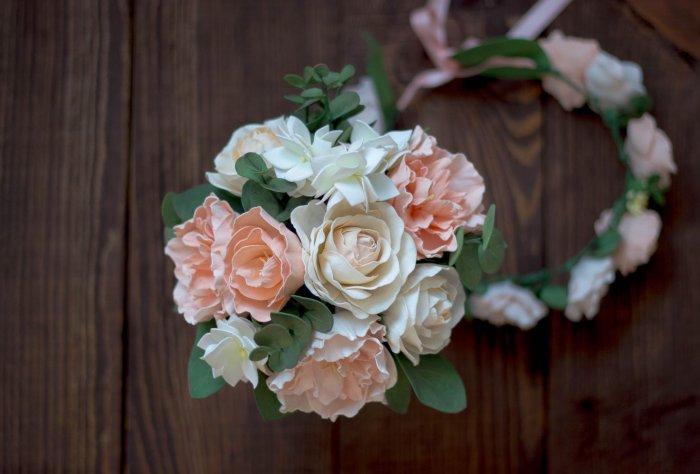 Букет из ободок для невесты из фоама