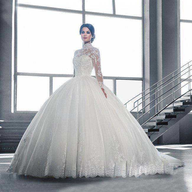66ddb1b6ada Пышное свадебное платье с длинными рукавами