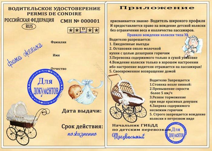 Права на возжение коляски