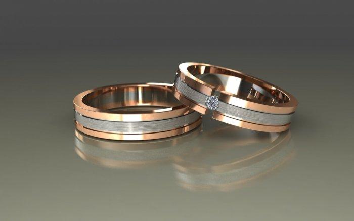 Комбинированные обручальные кольца  варианты из 2-х и 3-х видов золота 990735f93fa