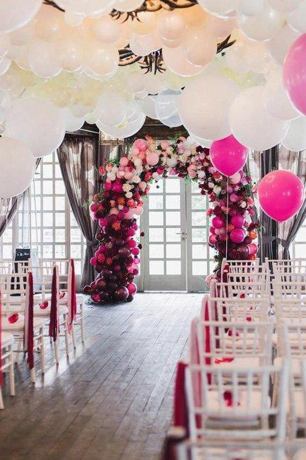 Оформление свадебной церемонии шарами