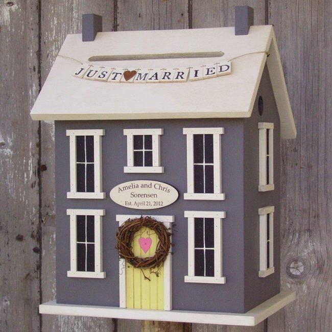 Открытка с домом для свадьбы, осени дождем для