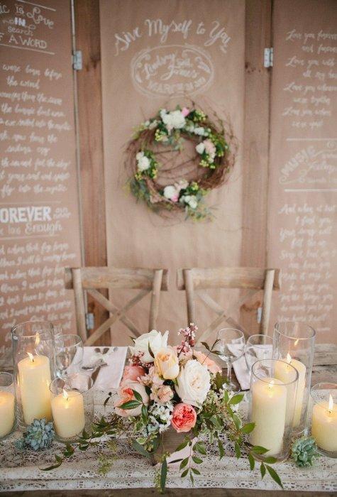 Украшение стола цветами и свечами - дизайн интерьера 37
