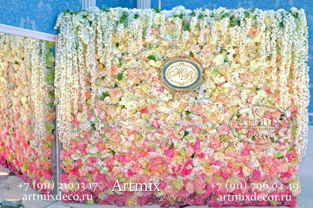 Цветочная стена на свадьбу аренда